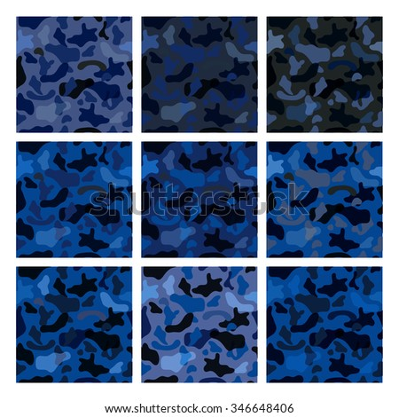 Seamless vector pattern set for military camouflage fabric. - stock vector