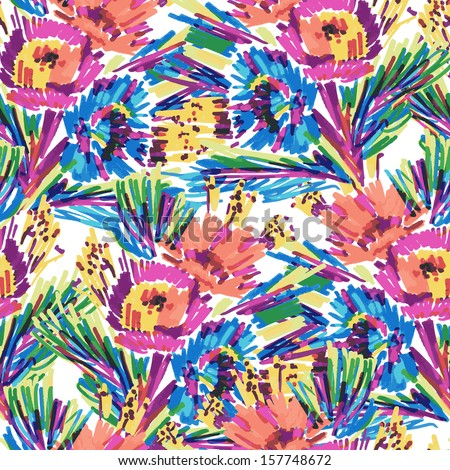 seamless vector pattern stylized flowers painted marker  - stock vector