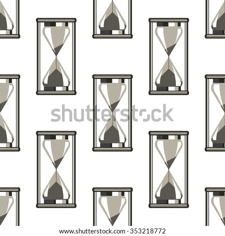 Seamless vector pattern. Symmetrical background with closeup grey sandglass on the white backdrop