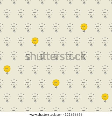 Seamless vector pattern, texture or background with doodle hand drawn turn on and off light bulbs isolated on beige neutral background. Industrial artistic desktop wallpaper for creative web design - stock vector