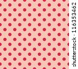 Seamless vector pattern, texture or background with red polka dots on baby pink background - retro design for website, blog, www, scrapbook, party or baby shower invitations and wedding cards. - stock vector
