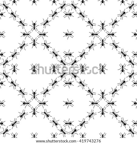 Seamless vector pattern. The pattern of ants. The pattern of insects. Anthill pattern. Ants. - stock vector