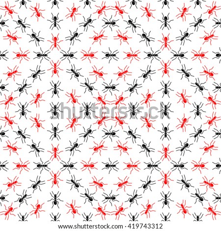 Seamless vector pattern. The pattern of ants. The pattern of insects. Anthill pattern. Ants. Red and black ants. - stock vector