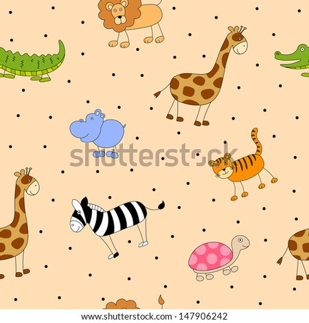 Seamless Vector Pattern with Abstract Cartoon Animals - stock vector