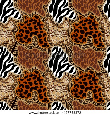 Seamless vector pattern with animal print spots. Tiger stripes, leopard spots, reptile skin. Safari textile collection. - stock vector