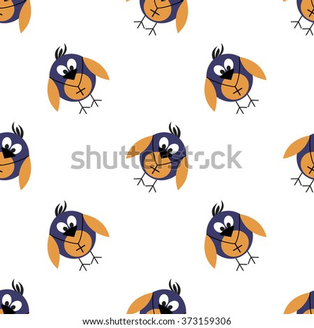 Seamless vector pattern with animals, cute background with birds. Series of Animals and Insects Seamless Patterns. - stock vector