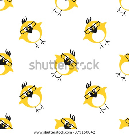 Seamless vector pattern with animals, cute background with chikens with glasses and dots in the shape of rhombus. Series of Animals and Insects Seamless Patterns. - stock vector