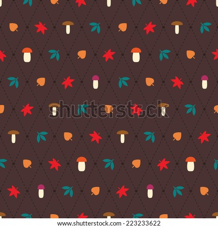 Seamless vector pattern with argyle elements, mushrooms and leaves. Simple decorative seasonal pattern. Minimalistic colorful autumn background.  - stock vector