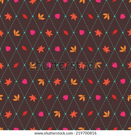 Seamless vector pattern with autumn foliage and argyle elements. Red, orange and pink leaves on dark brown background.  - stock vector