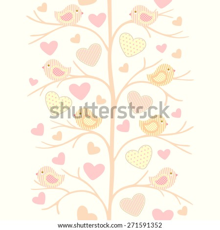 Seamless vector pattern with birds. - stock vector