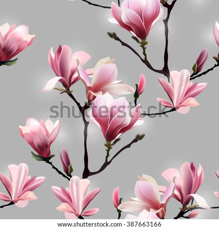 Seamless Vector pattern with blossom brunch of Magnolia. - stock vector