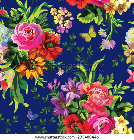 seamless vector pattern with bouquets of flowers - stock vector