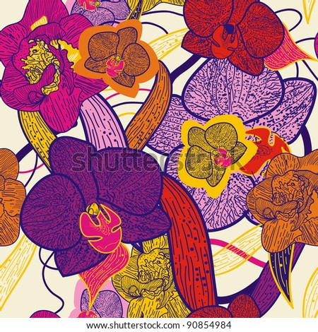 Seamless vector pattern with brigt orchid - stock vector