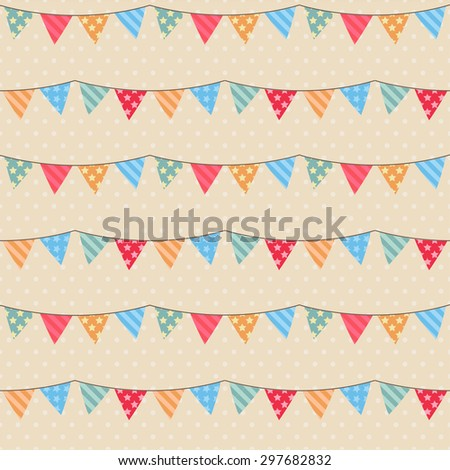 Seamless vector pattern with bunting - stock vector
