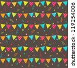 Seamless vector pattern with bunting on dark background - stock vector