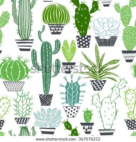 Seamless vector pattern with cactuses and succulents. - stock vector