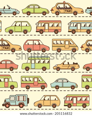Seamless vector pattern with cars and buses. Can be used for desktop wallpaper or frame for a wall hanging or poster,for pattern fills, surface textures, web page backgrounds, textile and more.