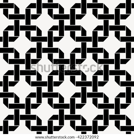 Seamless vector pattern with chained squares, celtic folding ribbon background - stock vector