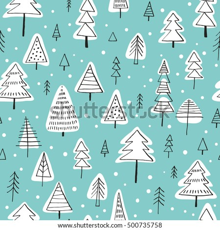 Seamless Vector Pattern With Christmas Trees Can Be Used For Wallpaper Fills