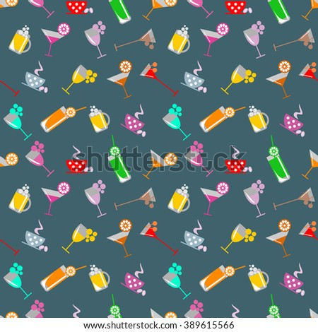 Seamless vector pattern with cocktail with glasses with wine, beer, juice and fruits on the blue background. Series of Food and Drink Seamless Patterns. - stock vector