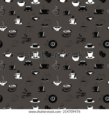 seamless vector pattern with coffee beans and cups - stock vector
