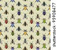 Seamless vector pattern with colored bugs - stock vector