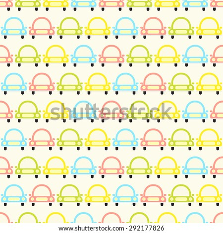 Seamless vector pattern with colorful baby cars. For cards, invitations, wedding or baby shower albums, backgrounds, arts and scrapbooks.