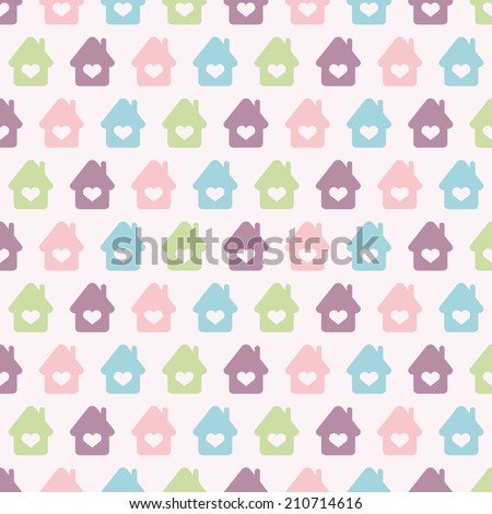 Seamless vector pattern with colorful houses and hearts. For cards, invitations, wedding or baby shower albums, backgrounds, arts and scrapbooks.  - stock vector