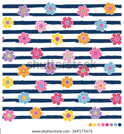 Seamless vector pattern with colorful spring flowers on navy blue and white stripes background - stock vector