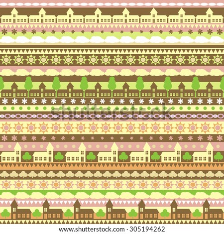 Seamless vector pattern with colorful strips  and houses background. For cards, invitations, wedding or baby shower albums, backgrounds, arts and scrapbooks. - stock vector