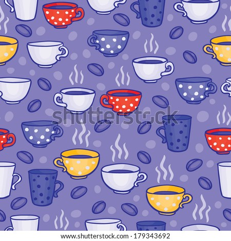 Seamless vector pattern with cups of coffee - stock vector
