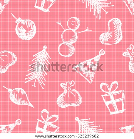 Seamless vector pattern with cute hand drawn fir trees, snowmen, gifts, christmas toys. Pink seasonal winter background Graphic illustration.