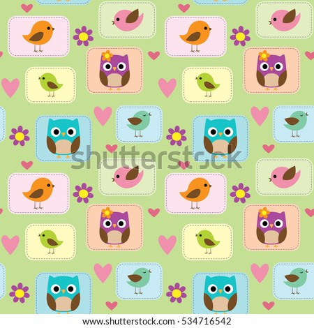 Seamless vector pattern with cute little birds, owls, flowers and hearts.