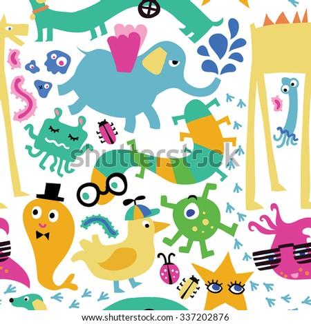 Seamless vector pattern with cute monsters