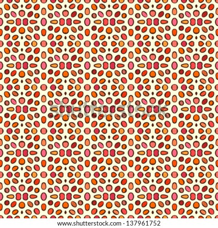 Seamless vector pattern with decorative round shapes in berry & coral red colors. Texture for web, print, wallpaper, home or wedding decor, summer fall fashion, website background, children room - stock vector