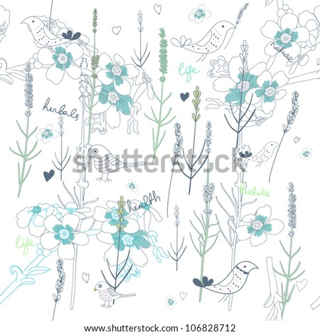 Seamless vector pattern with drawing leafs and birds - stock vector