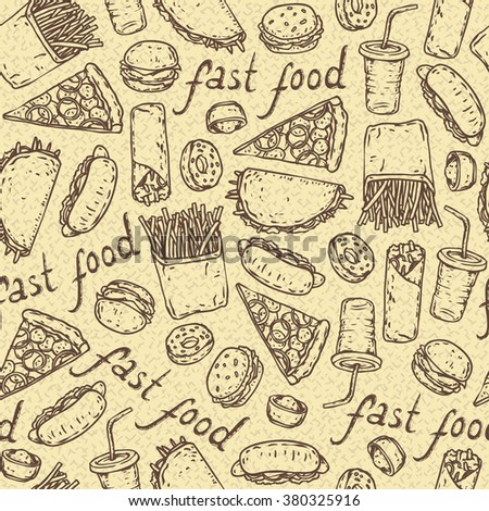 Seamless Vector Pattern with Fast Food  on a Beige Background