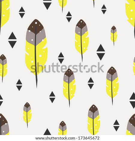 Seamless vector pattern with feathers - stock vector