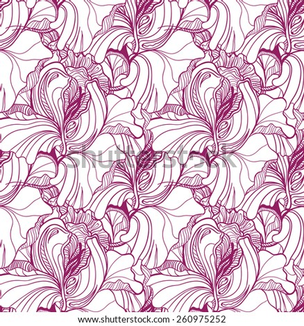 Seamless vector pattern with  floral ornament with a lot of details  - stock vector