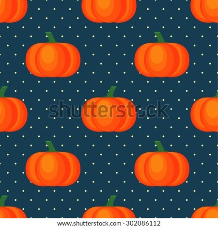 Seamless vector pattern with fresh ripe pumpkins on polka dots dark blue background. Autumn concept illustration. - stock vector