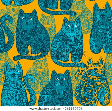 Seamless vector pattern with funny ornamental cats - stock vector