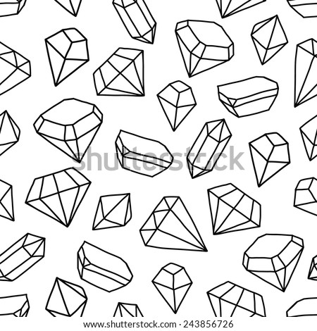 Seamless vector pattern with gems. - stock vector