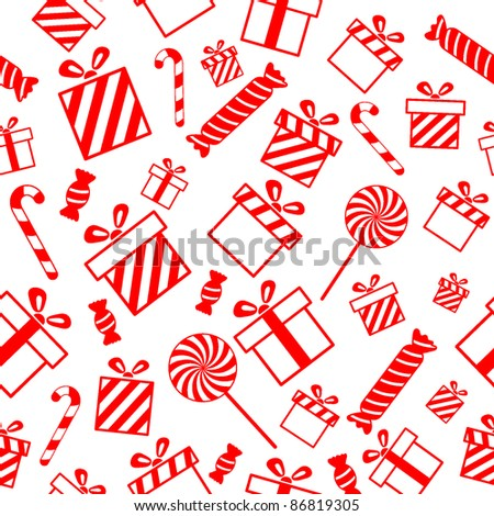 Seamless vector pattern with gift boxes and candies EPS8 - stock vector