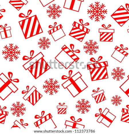 Seamless vector pattern with gift boxes and snowflakes EPS8 - stock vector