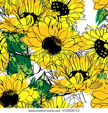 Seamless Vector Pattern With Golden Yellow And Orange Sunflowers Green Leaves Drawn Imitating Ink