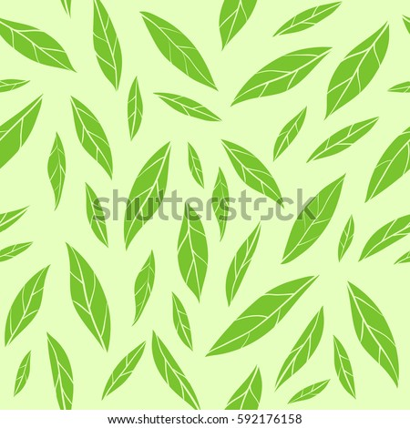 Seamless Vector Pattern With Green Tea Leaves Fashion Print Wrapping Paper Wallpaper Design