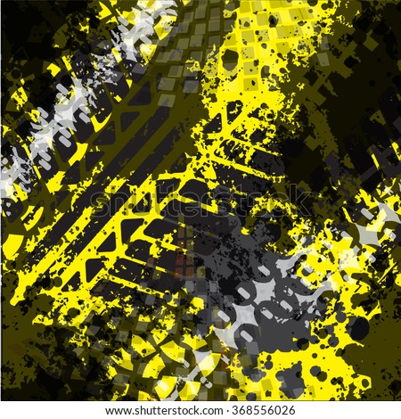 Seamless vector pattern with Grunge Tire Tracks on yellow background. pattern for boy - stock vector