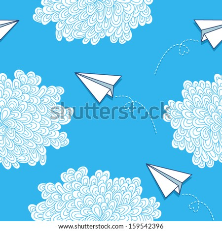 Seamless vector pattern with hand-drawn clouds and paper airplanes.  - stock vector