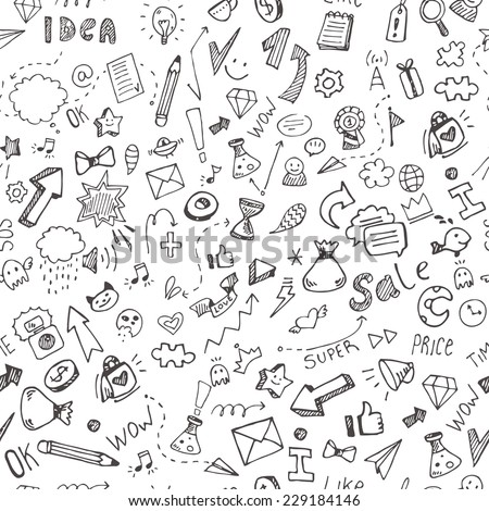 Seamless vector pattern with hand drawn doodle icons for your business and ideas - stock vector