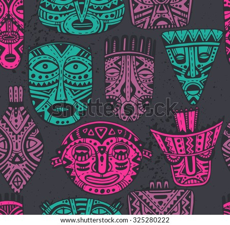 Seamless vector pattern with hand drawn fancy masks in african style. Colorful tribal ethnic endless background - stock vector